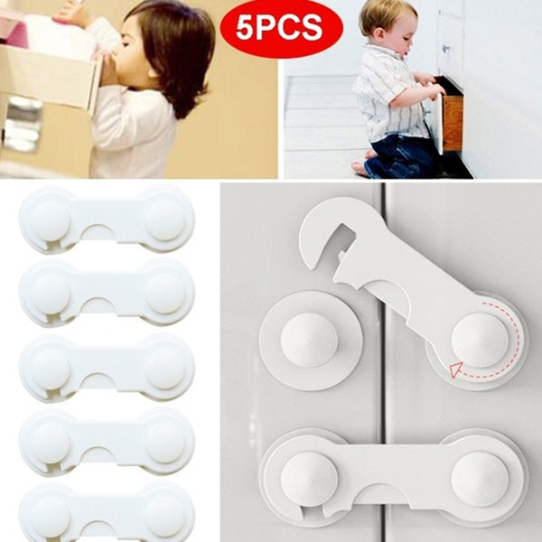 5pcs Multi-functional Toddler Baby Adhesive Safety Lock Child Security Protective Lock Cupboard Wardrobe Fridge Door Safety Buckle
