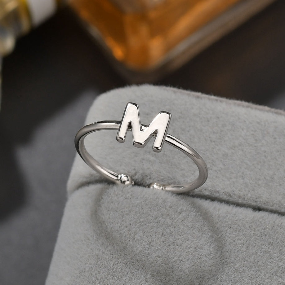 Classic First Letter Ring Ladies Men's Simple And Generous European And American Personality Charm Ring Initials Birthday Gift
