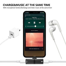 Load image into Gallery viewer, 2 in 1 lightning adapter for iPhone 7/7 Plus/8/8 Plus/X/XR/XS/XS MAX, Dual Jack Aux Audio & Charging & Calling & Sync Cable Connector Earphone Charger