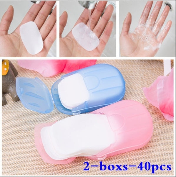 2-Boxs-40PCS Multicolor Health Mini Soap Tablets Boxed Travel Bathroom Accessories Disposable Camping Washing Scented Foaming Paper Soap