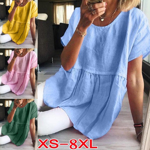 Plus Size Fashion Summer Short Sleeve Blouse Women's Solid Color Round Casual T-shirt Ladies Loose Linen Tops XS-8XL