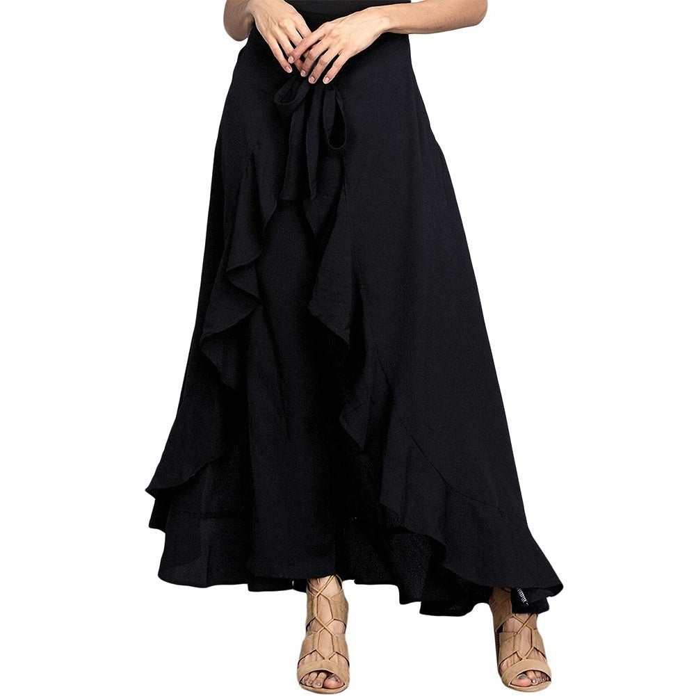 Summer Women's Skirt Pant Ruffle Palazzo Trouser Boho Wide Leg Loose Skirt Pants