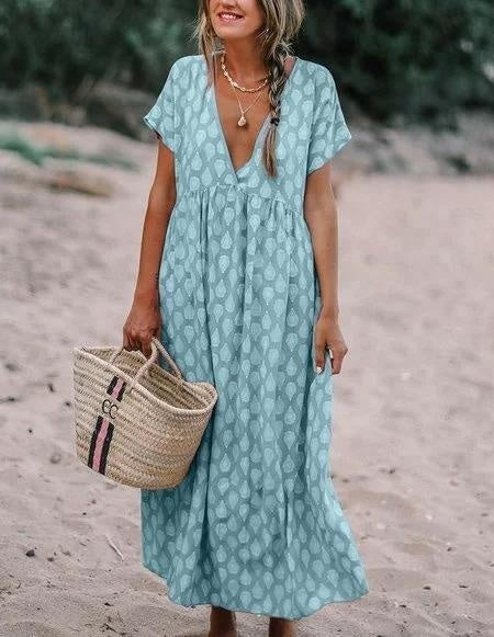 Women Summer Short Sleeve Deep V Neck Printed Beach Dress Loose Casual Big Swing Maxi Dress