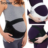 TRAINER  SECRE Pregnant Women Belly Belt Prenatal Care Athletic Bandage Girdle Pregnancy Maternity Support Belt (White/Black)(S-2XL)