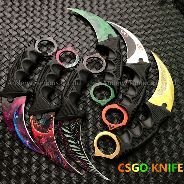 Real CSGO Tactical Fixed Blade Claw Knife Outdoor Hunting Knife Survival Karambit Knives Stainless Steel Combat Skinner Hawkbill Knifes-6 Style