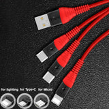 3 In 1 Multi Type C Cable Micro USB Data  Fast Charging for Android  for iPhone smart phone