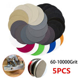 5 Pcs Round Wet or Dry Silicon Carbide Waterproof Sandpaper Pads 5'' 125mm Sanding Disc 60 - 10000 Grit