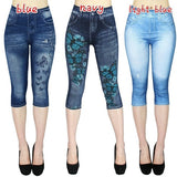 2019 NEW Women's Capri Leggings In Jeans 3/4 Summer Leggings Jeggings Skinny Butterfly Printed Jegging Pants