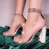 Sumptuous Ankle Strap Pumps 10.5 CM Square Heels Lady Shoes High Heels Women Rhinestone Heeled Sandals 35-43