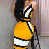 2019 New Summer Fashion Women Sexy Spaghetti Strap Backless Dress Bodycon Sleeveless Deep V-Neck Contrast Color Package Hip Dress Evening Party Dress
