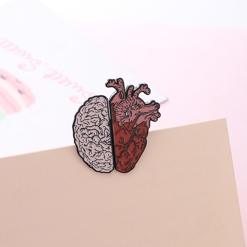 Half Organ Heart Brain Enamel Pin Rational Sensual Brooches Bag Clothes Badge Love Medical Jewelry Gift for Doctor