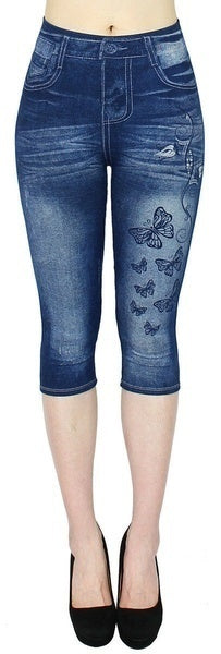 NEW Women's Capri Leggings In Jeans 3/4 Summer Leggings Jeggings Skinny Butterfly Printed Jegging Pants