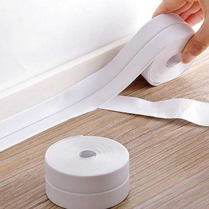 PVC Material Sink Stove Bathroom Utensils Waterproof Mildew Adhesive Wall Sink Edge Trim Seal Strip Seal Tape Angle Stickers Waterproof (1M, 2M, 3M Optional)