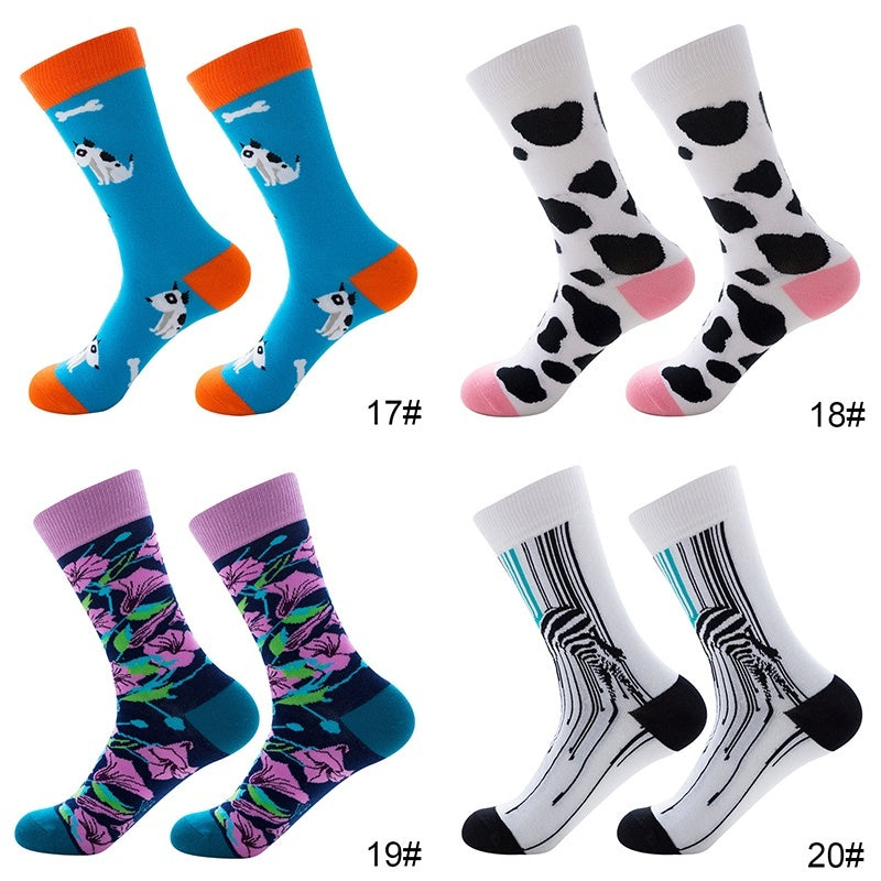 Colorful Individuality Socks Fashionable Casual Happy Fancy Funny Cotton Stockings Optic Square Sloth Fish Panda Dog Flower Fruits Food Cute Socks