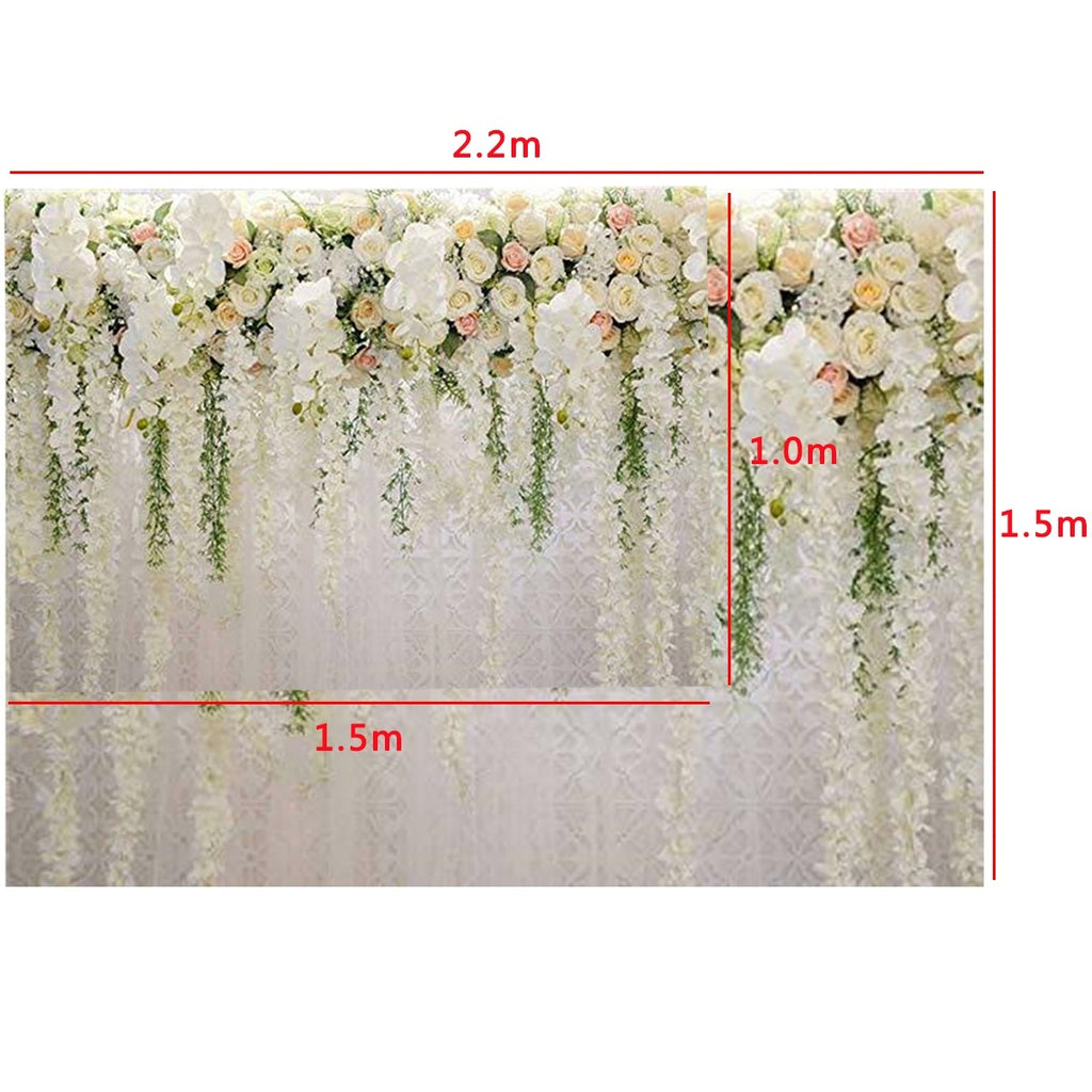7x5FT / 5X3.3FT White Pink Rose Wedding Photography Backdrops Wall Background Cloth Wedding Scene Decor Studio Props