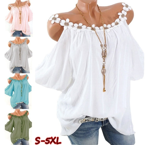 S-5XL Plus Size Women Casual Off Shoulder Tops Lace Collar Blouse Loose Solid Color T Shirt