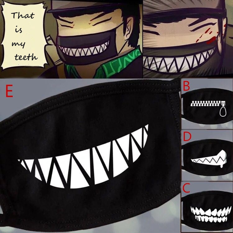 Fashion Cartoon Pattern Solid Black Cotton Face Mask Cute 3D Print Half Face Mouth Muffle Masks Health Beauty Accessories.