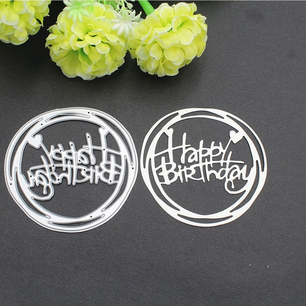 Happy Birthday Words Metal Cutting Dies Stencils for DIY Scrapbooking/Photo Album Decorative Embossing