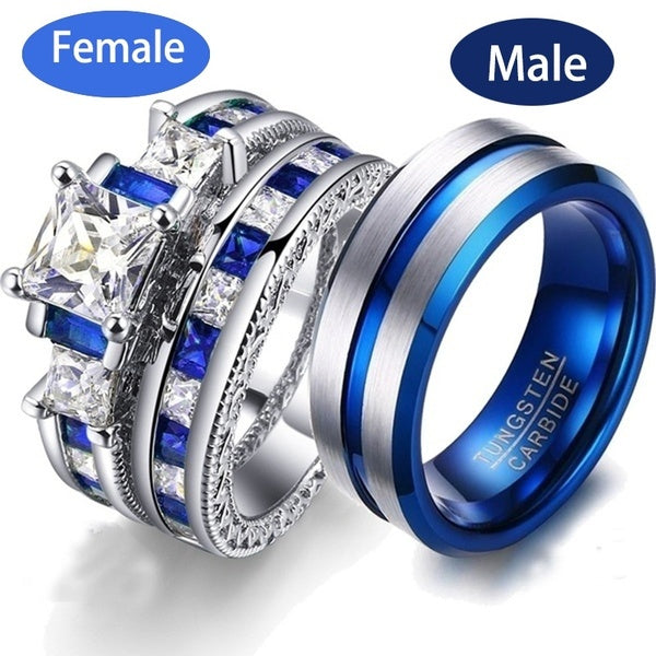 New Fashion Couple Rings Jewelry - Men'S 8Mm 316L Stainless Steel Titanium Ring And Women'S 925 Sterling Silver White Sapphire Cz Bridal Wedding Engagement Band Ring