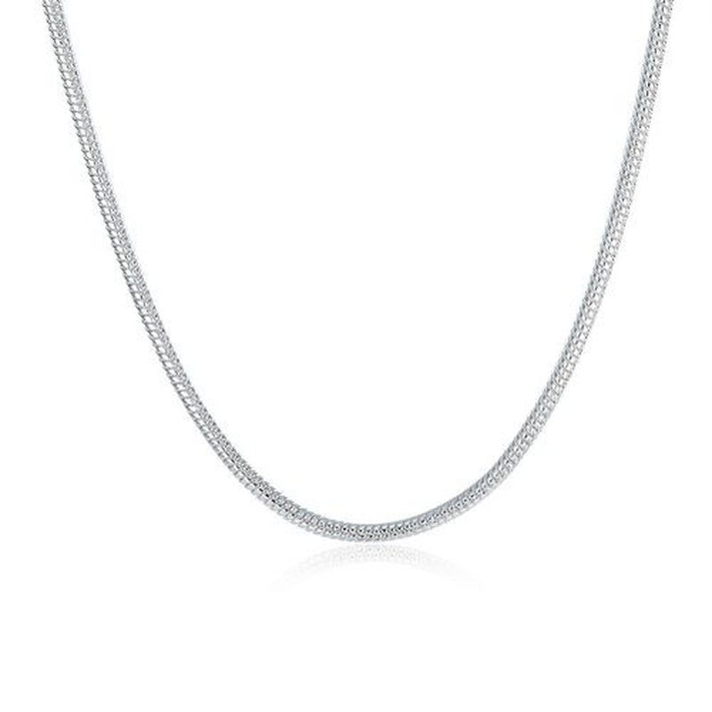 925 sterling silver necklace chain serpentine necklace pendant 16'' - 30' '' ''  European and American exquisite casual 2mm wide 925 sterling silver snake necklace: '' 18-30 inch '' small clavicle snake chain 5PCS / 10PCS / set