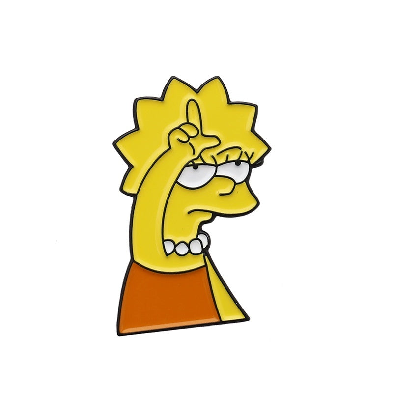 Funny Simpsons Enamel Pin Humor Cartoon Brooch Comic Badge Creative Cartoon Jewelry Gift for Friend