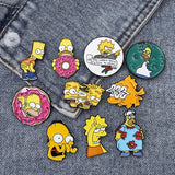 12 Styles The Simpsons Enamel Pins Lisa Homer Marge Kirk Cartoon Funny Character Jewelry Badge Lapel Pins