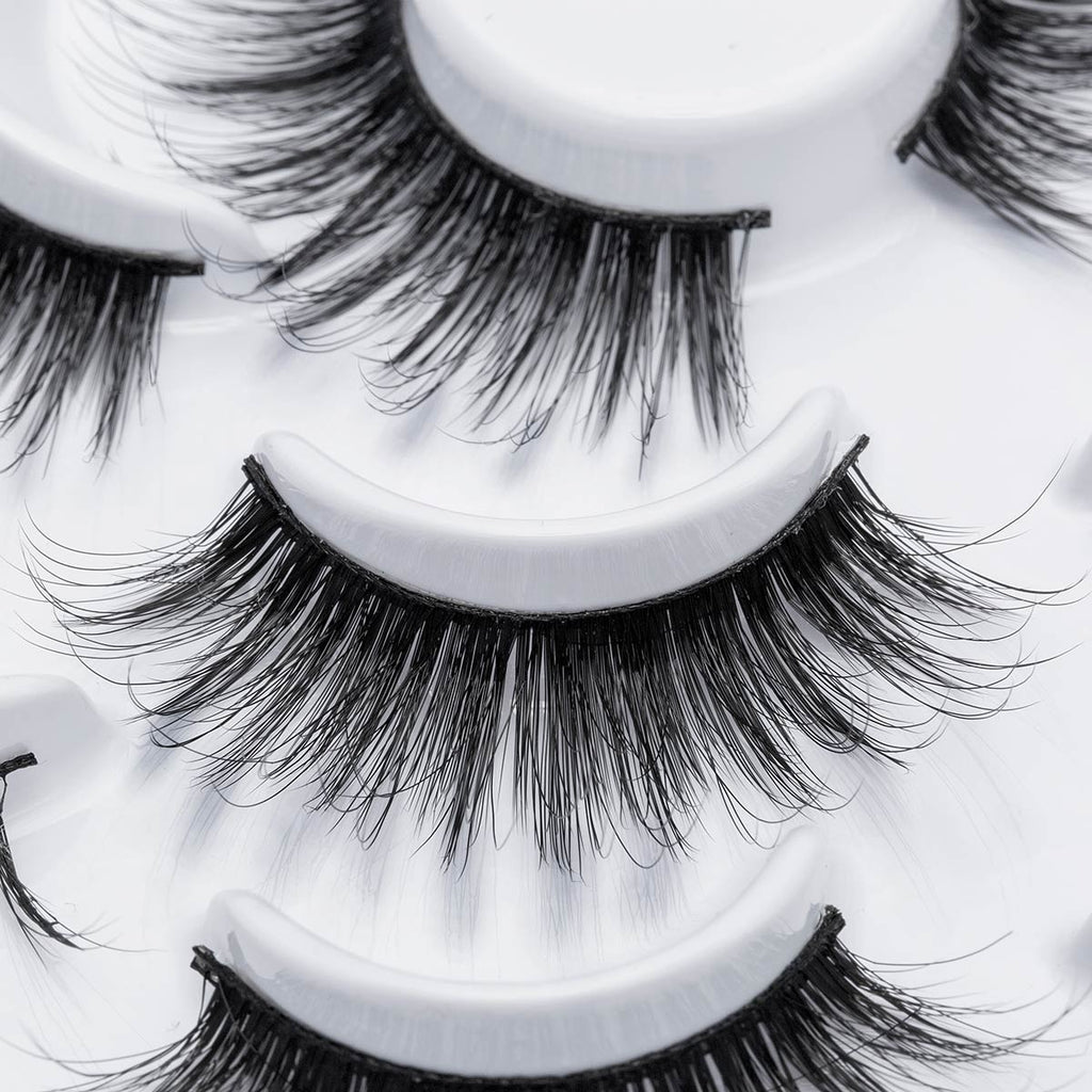 10 Pairs Eye Makeup Tools Natural Long Wispy Fluffy Handmade False Eyelashes 5D Mink Hair Eye Lashes Extension Thick Cross