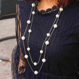 Womens Fashion Sweater Chain Double Pearl Beads Necklace Gold Silver Necklace Jewelry Accessories Gift