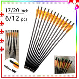 6/12Pcs  17/20 Inches Fiberglass Crossbow Arrow Outer Diameter 8mm Changeable Arrowhead for Archery Hunting Shooting