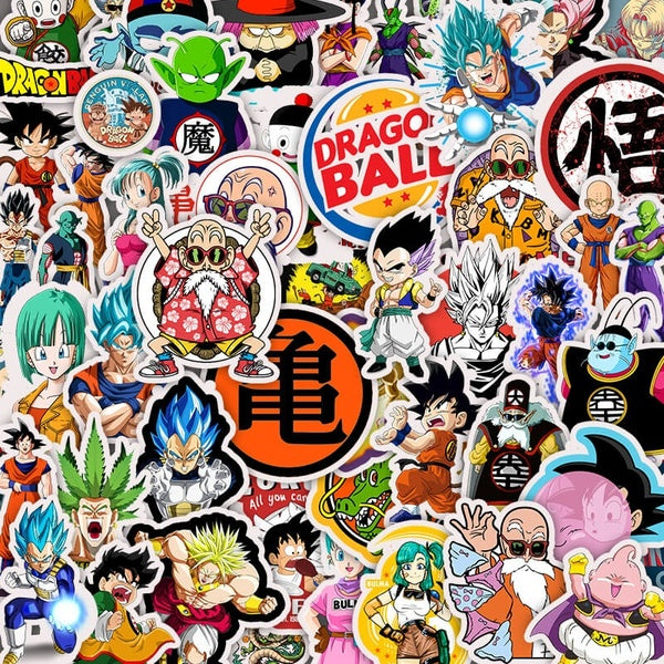 50pcs Dragon Ball Anime Personality DIY Waterproof Sticker Luggage Mobile Computer Mobile Phone Skateboard Guitar Refrigerator