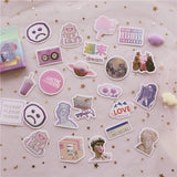 46 Pcs/Box Pack Decorative Diy Painting Sticker Meet Cute Vaporwave Label Kawaii Diary Handmade   for Student School Supplies