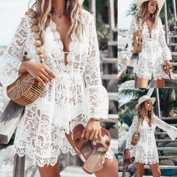 Summer Hollow Out Beach Coat For Women Deep V-Neck Lace Dresses Bikini Blouse Sun Protection Clothing
