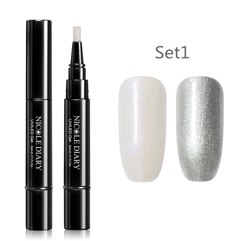 2Pcs/Set NICOLE DIARY 3 In 1 Nail Gel Pen