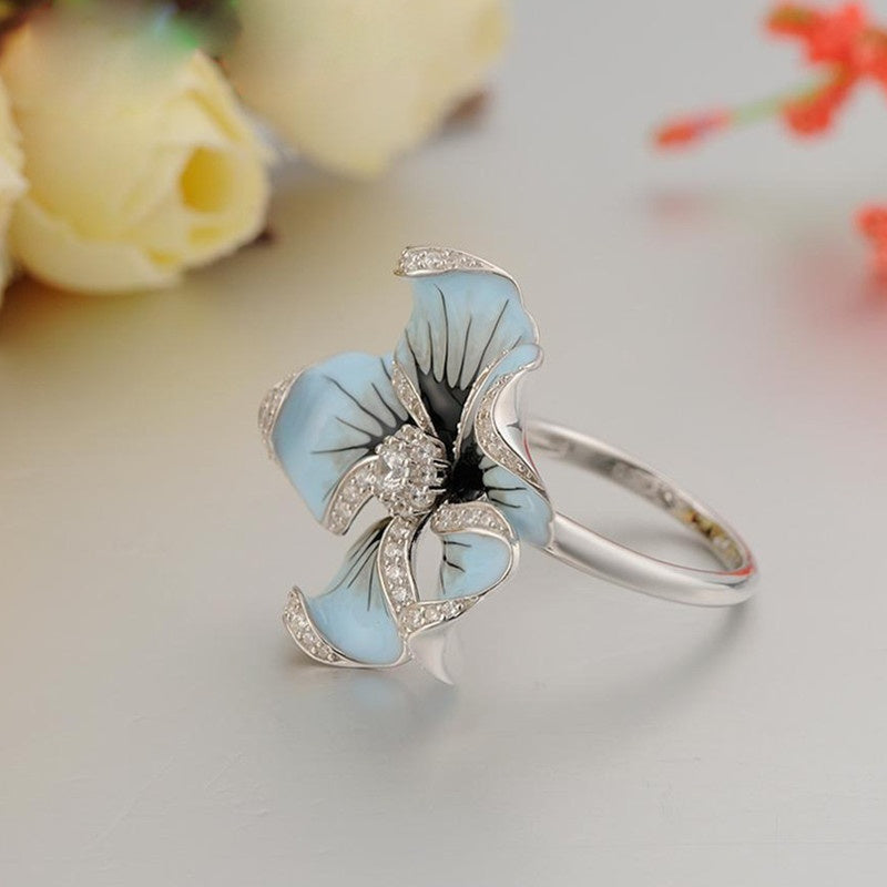 Unique 925 Sterling Silver Flower Bride Wedding Jewelry Princess Engagement Anniversary Fine Jewelry Size 5-10
