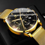 Fashion Men's Gold Watch Stainless Steel Mesh Strap Date Display Watch Deluxe Business Sports Clock Uhren Herren