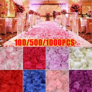 100/500/1000PCS Fake Rose Petals Flower Toss Silk Petal Artificial Petals for Wedding Confetti Party Event Decoration