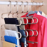 Multilayer Pants Hanger Rack Trousers Stainless Steel S-type 5 Layers Clothes Belt Hangers Space Saving Storage For Closet