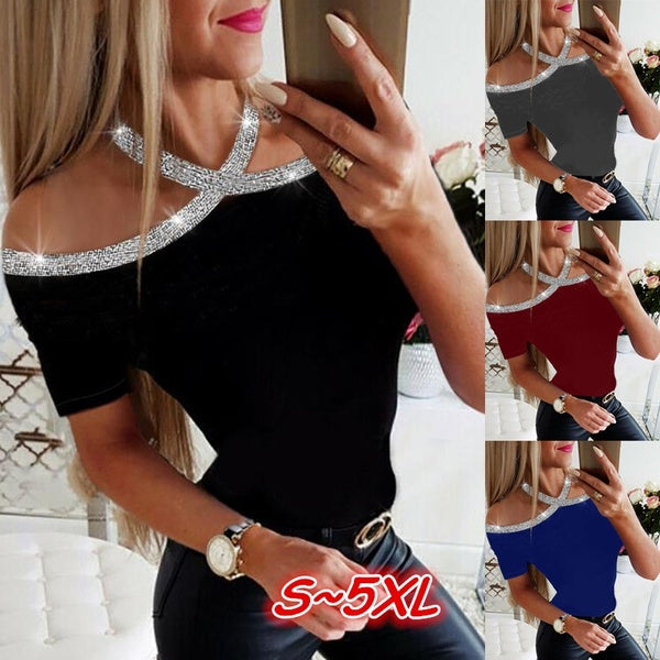 4 Colors Vogue Shinning Sequins Patchwork Women Halter Short Sleeve Tops T-shirts Ladies Plus Size Slim Fit Causal Tops Blouses S~5XL