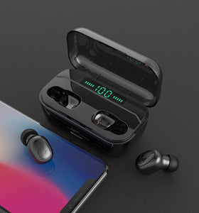 [Bluetooth5.0, CVC8.0 Noise Cancelling] TWS Bluetooth Headset 8D Stereo Wireless Bluetooth Earphones Sport Waterproof Bluetooth Headphones Mini Earbuds with Wireless Charging Case
