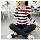 Women T Shirt Womens Tops Tee Shirt Femme Winter Long Sleeve Tshirt Fashion 2019 Poleras De Mujer Stripe T-shirt