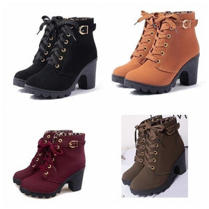New The Bottom of The Thick Heel Short Boots with High Restoring Ancient Ways with Female Boots