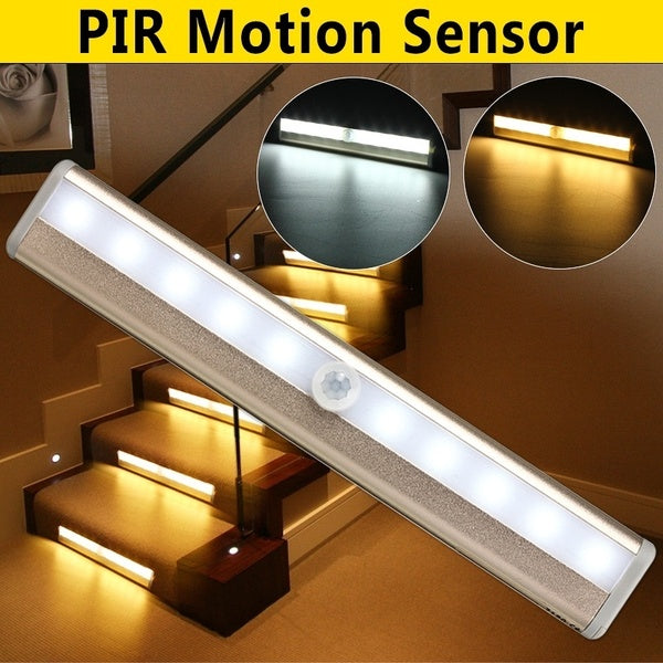 Cabinet Light Kingso 10LED Strip Light Auto Switch Bedroom Washroom Cabinet Wardrobe Stairway Drawer Porch PIR Motion Sensor