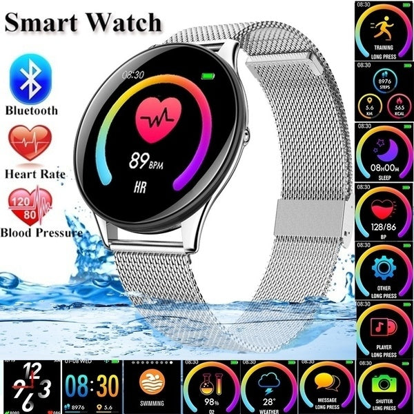 2019 Fashion Ultra-thin Stainless Steel Smart Watch Heart Rate Fitness Tracker Smart Wristband Blood Pressure/Oxygen Men Women Intelligent Bracelet for IOS Android Phone