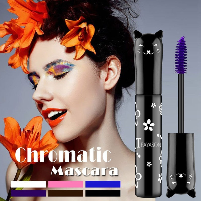 Color Waterproof Anti-fouling Mascara Blue-violet Gradient, Thick Curling Lasting Without Blooming