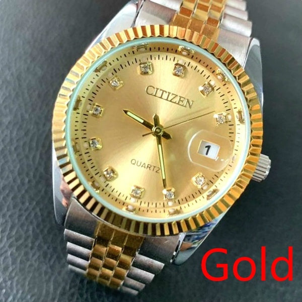 Citizen Men Wristwatch Chronograph Business Stainless-Steel Male Top-Brand Waterproof Fashion Business Men WristWatch Relogio Masculino Color Gold Silver