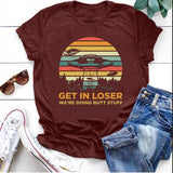 Plus Size Women Fashion Funny UFO 'GET IN LOSER' Print Tee Shirt Lady Teen Girl Casual Short Sleeve Shirt Comfy Alien UFO Print Bohemia Shirt Top