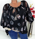 S-5XL 2019 Women Fashion Trendy Long Sleeve Feather Print Lace Up V-neck Off Shoulder Blouse Plus Size Shirts