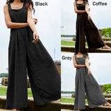 S-5XL Women Cotton Jumpsuits Casual Loose Pockets Pants Wide Leg Long Trousers Rompers Summer Autumn Fashion Plus Size Overalls