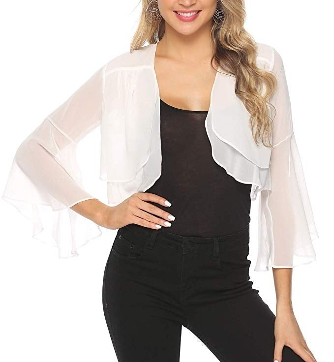 New Arrival Women Summer Long Sleeve Sheer Soft Chiffon Bolero Shrug Open Front Jacket Cardigan Wedding Dress Coat