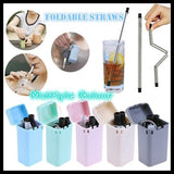 New Rust Proof Reusable Silicone Stainless Steel Folding Straws and Cleaning Brush